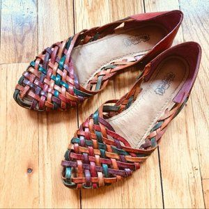 Vintage Brazilian huaraches leather slip-on flat sandals 1980s Woodbridge sz 7